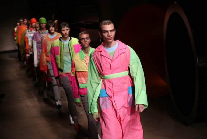 Models present creations at the Topman catwalk show during London Fashion Week Men's 2017 in London